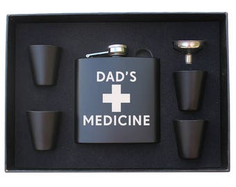 Dad's Medicine Funny Flask laser engraved hip Flask gift set Valentine's Day gift Perfect Medicine Father's Day gift