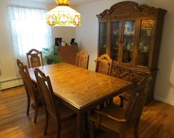 Vintage Dining Room Set With Hutch Solid Wood By Singer Furniture