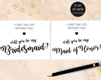 Will You Be My Bridesmaid Card, Bridesmaid Proposal Card Printable, Bridesmaid Printable Proposal Card, Maid of Honor Card, Instant download