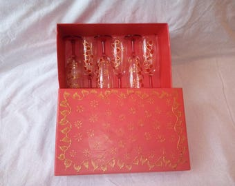 set 6 hand-painted red and gold glasses