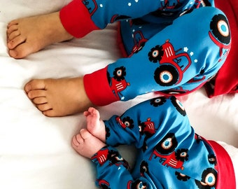 Tractor leggings blue & red