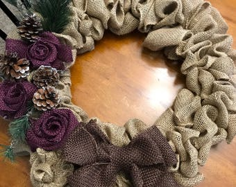 Rustic Fall/Winter Burlap Wreath