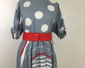 Vintage Women's 1980's polka dot dress- Dolman Sleeve- Boatneck- Size 12