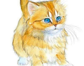 Golden Chinchilla Persian Cat Original Watercolor Painting