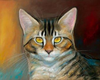 Yellow Eyed Tabby Cat Original Pastel Painting