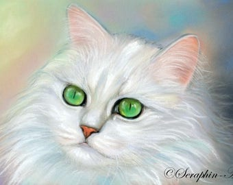 White Cat Original Pastel Painting