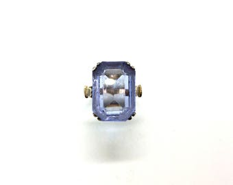Antique Art Deco French Gilded Sterling Silver Blue Glass Baguette Cocktail Ring Size – P