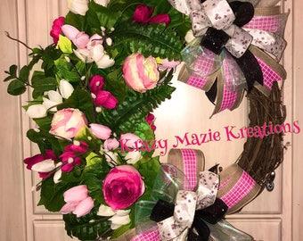 Springtime Floral Grapevine Wreath