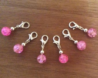 Stitch Markers, Set Of 6, Crochet Knitting Clip Charm Crackle Glass Bead.