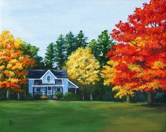 Blue House in Autumn 8x10 Acrylic Painting