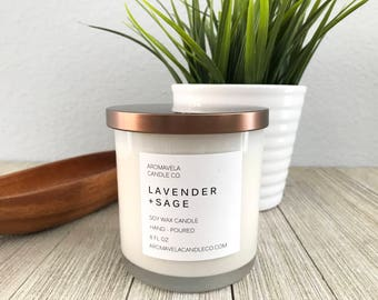 LAVENDER + SAGE soy wax candle soy candle AromaVela Candle Co