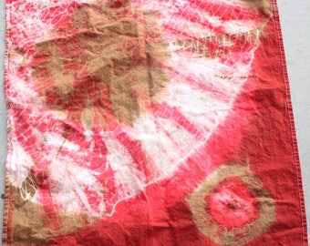 tie dyed red and  brown  tea towel , golf towel
