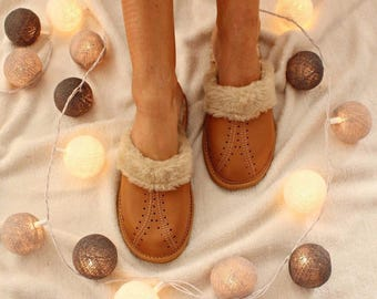 LEATHER  slippers women moccasins boots brown comfortable indor shoes  fur wool woolen  footwear fur warm winter boots light comfy  gift