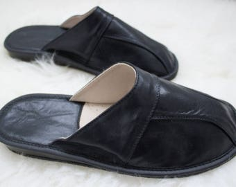 Man slippers , natural leather slippers, man shoes, leather shoes, leather shoes