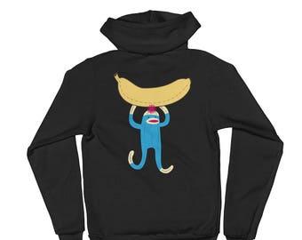 Zip Up Banana Sock Monkey Hoodie sweater