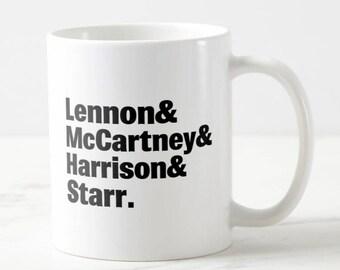 Band Lineup Mug - Beatles - Beatles Mug - Music Mug - Gift for Her - Gift for Him - Birthday Gift - Beatles Gift