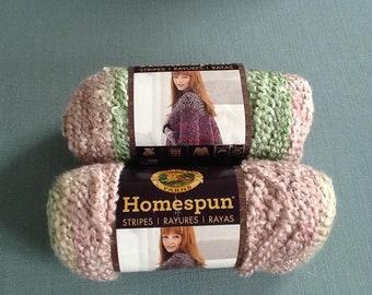 Lion brand homespun yarn - sundae striped. Bulky.