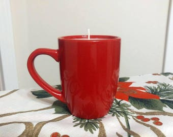 Handmade, Handpoured, all natural, unique, 100% soy candle in 16oz coffee mug with cotton wick. 50 hour burn time. Easy to clean.