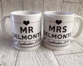 Mr and Mrs mugs,  wedding gift, wedding mugs, wedding day gift