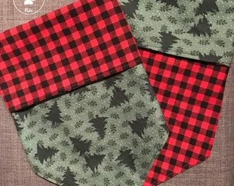 Reversible Pine and Plaid  Dog Bandana, Tie On Bandana, Snap On Bandana