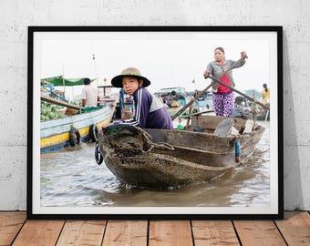 Vietnam Floating Market Photo // Mekong Delta Travel Photography Print, Asian Wall Art, Asia Home Decor, Vietnamese River Bazaar, Cai Rang