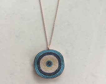 Rose Gold plated large round Evil Eye Necklace