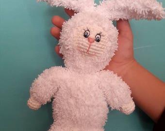 Crochet bunny doll  Crochet white  rabbit  Nursery bunny Newborn shower gift Amigurumi toy Plush rabbit Soft toy Easte gift Animal doll  gif