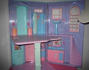 Vintage Barbie Dream House, Purple, Pink, Green,- - Barbie Doll Two Story Dream House 70s-80s