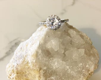 Engagement Ring, Halo Engagement Ring, Silver engagement ring, wedding rings, Cz engagement ring