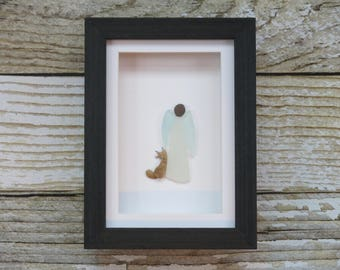 Sea Glass Art,Pebble Art,Pebble Art Angle and Cat,Rock Art,Simple Decor,Mothers Day Gift,Unique Gift,Framed Art,OOAK,Art by M.McGuinness!