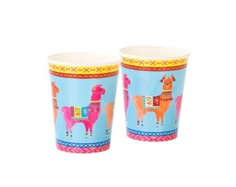 Boho Llama Paper Cups , Bohemian Party Cups , Summer Party Table , 8 Pack