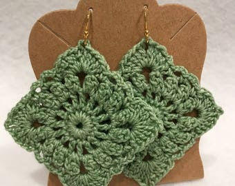 Sage green crochet lace square earrings