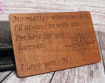 5th Anniversary Ultra Slim Wooden Wallet Card, Personalized wallet card, Wooden Wallet Insert Card, Engraved Wallet Insert