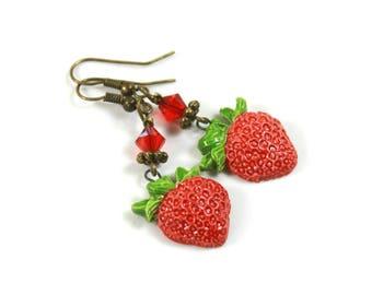 Strawberry earrings, Strawberry jewelry, Handmade earrings, Beaded earrings
