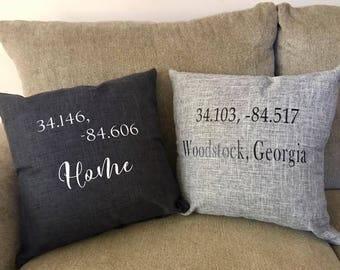 Customizeable Longitude, Latitude Home or City Pillow Cases
