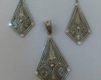 earings and pendetif filigrane silver 925