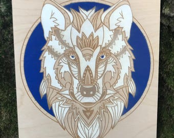 The Wolf!!  Engraving/Hand painting engraved on 12mm Birch plywood.  Available Framed.