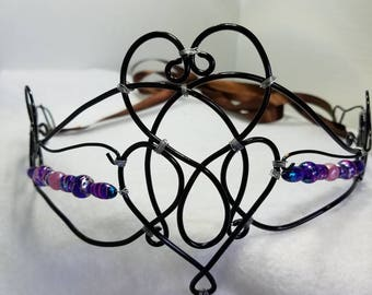 Renaissance medieval fantasy queen princess crown circlet black wire with multi colored beads game of thrones lord of the rings sku# 1003