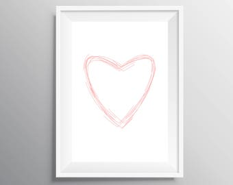 Nursery print, Pink heart print, digital download, Heart print, Girl nursery decor, Instant download, baby shower gift, Baby shower poster