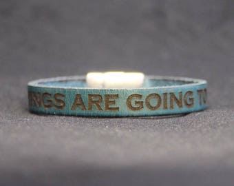 teal leather bracelet - personalised with your name, phrase or date