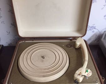 Working trio track trip pick-up suitcase Gramophone 1957 record player retro vintage-made in Denmark-