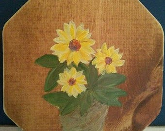 Hand Painted Sunflower Plaque