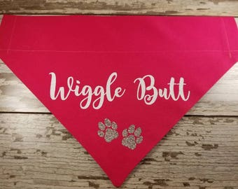 Funny dog bandana, Wiggle Butt, pink, aqua, purple, black
