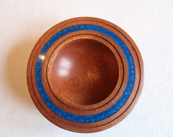 Hand Turned Sapele Candy Bowl with resin inlay