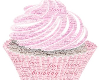 Personalised cupcakes Word Art Gift Framed Wedding Anniversary Engagement Birthday Son Daughter Auntie Sister Gift