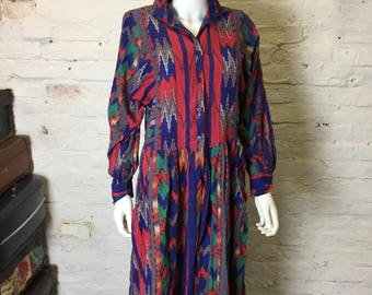 Vintage Retro 90s Long Sleeve Multicoloured Ikat Batwing Button Down Dress
