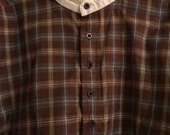 Vintage Mod Fashion Scully Collarless Shirt/ Size Medium