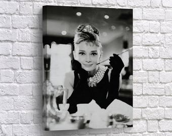 Audrey Hepburn Canvas Print Breakfast At Tiffanys Wall Art Home Decor Photo Vintage Design