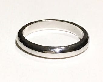 925 sterling silver round edge wedding band
