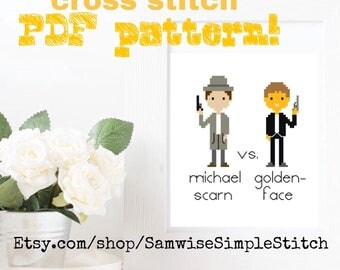 The Office, Michael Scarn vs. Goldenface cross stitch PATTERN